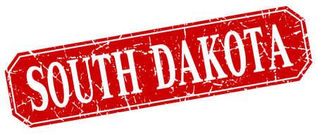 south dakota: South Dakota red square grunge retro style sign
