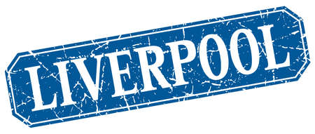 liverpool: Liverpool blue square grunge retro style sign