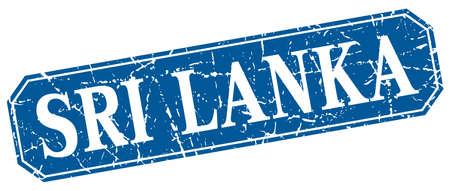 sri: Sri Lanka blue square grunge retro style sign Illustration