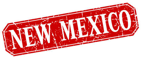 new mexico: New Mexico red square grunge retro style sign Illustration
