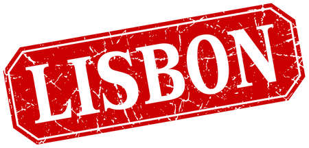 lisbon: Lisbon red square grunge retro style sign Illustration