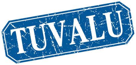 tuvalu: Tuvalu blue square grunge retro style sign