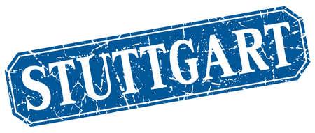 stuttgart: Stuttgart blue square grunge retro style sign