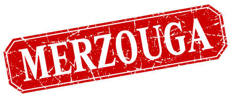 merzouga: Merzouga red square grunge retro style sign Illustration