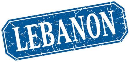 lebanon: Lebanon blue square grunge retro style sign