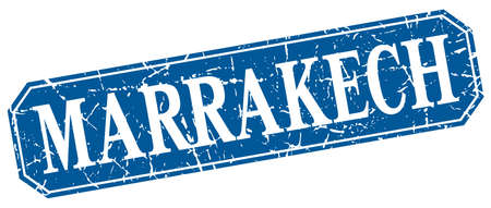 marrakech: Marrakech blue square grunge retro style sign Illustration