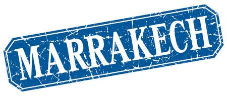 Marrakech blue square grunge retro style sign Illustration