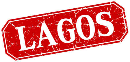 lagos: Lagos red square grunge retro style sign Illustration