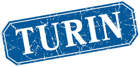 turin: Turin blue square grunge retro style sign Illustration