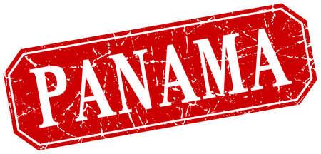 panama: Panama red square grunge retro style sign Illustration