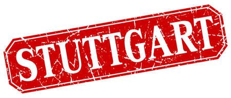 stuttgart: Stuttgart red square grunge retro style sign Illustration