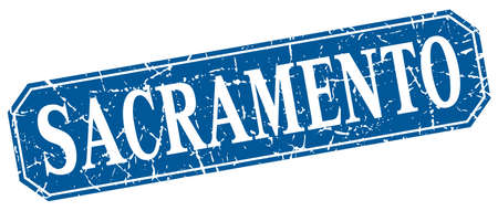 sacramento: Sacramento blue square grunge retro style sign