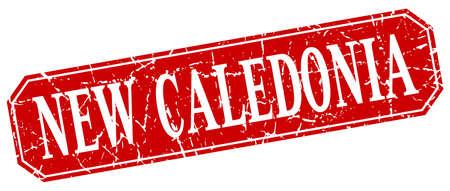 new caledonia: New Caledonia red square grunge retro style sign Illustration
