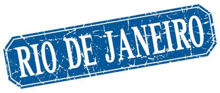 janeiro: Rio De Janeiro blue square grunge retro style sign