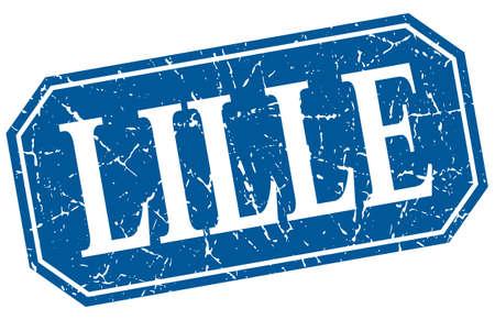 lille: Lille blue square grunge retro style sign Illustration