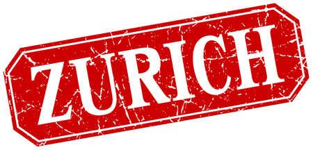zurich: Zurich red square grunge retro style sign Illustration