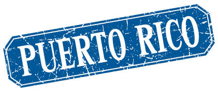 rico: Puerto Rico blue square grunge retro style sign Illustration