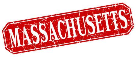 massachusetts: Massachusetts red square grunge retro style sign