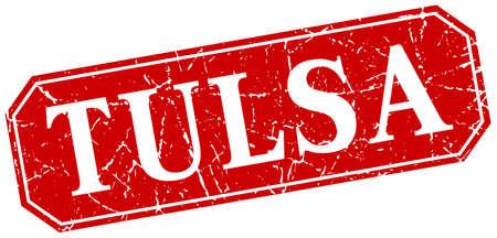 tulsa: Tulsa red square grunge retro style sign Illustration
