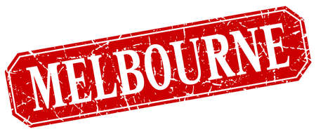 melbourne: Melbourne red square grunge retro style sign