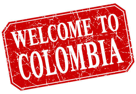 colombia: welcome to Colombia red square grunge stamp