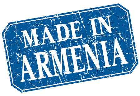 made in: made in Armenia blue square grunge stamp
