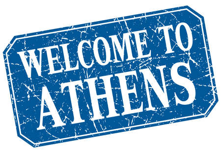athens: welcome to Athens blue square grunge stamp