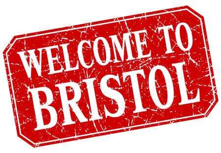 bristol: welcome to Bristol red square grunge stamp