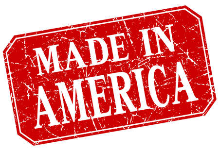 red america: made in America red square grunge stamp