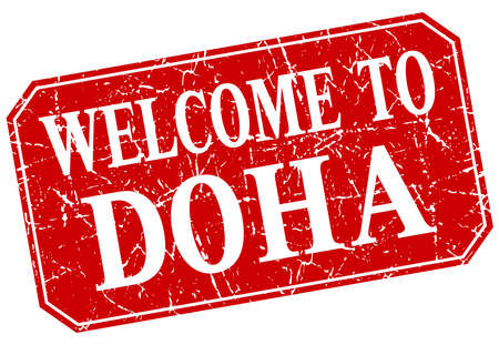 doha: welcome to Doha red square grunge stamp