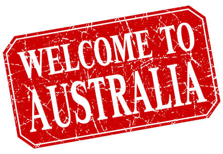 australia stamp: welcome to Australia red square grunge stamp