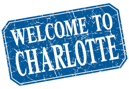 charlotte: welcome to Charlotte blue square grunge stamp