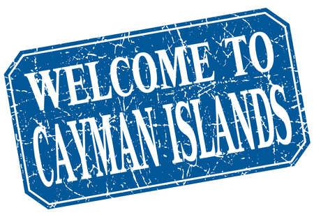 cayman islands: welcome to Cayman Islands blue square grunge stamp Illustration