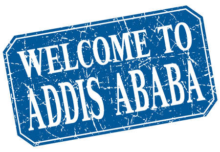 addis: welcome to Addis Ababa blue square grunge stamp