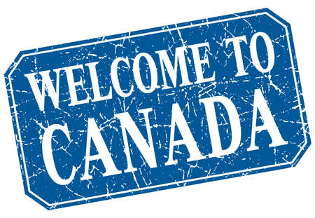 canada stamp: welcome to Canada blue square grunge stamp