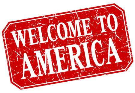 red america: welcome to America red square grunge stamp
