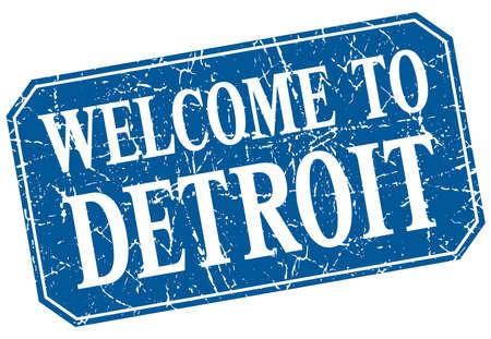 detroit: welcome to Detroit blue square grunge stamp Illustration