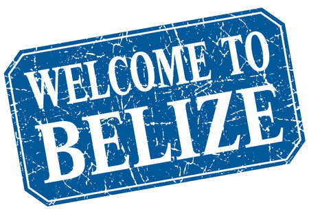 belize: welcome to Belize blue square grunge stamp Illustration
