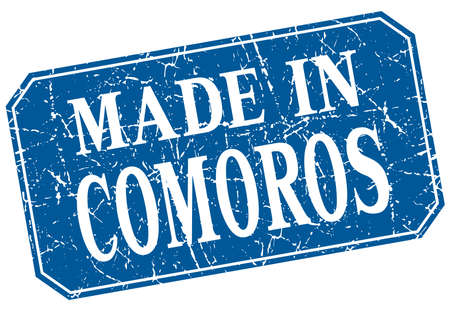 comoros: made in Comoros blue square grunge stamp Illustration