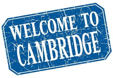 cambridge: welcome to Cambridge blue square grunge stamp Illustration