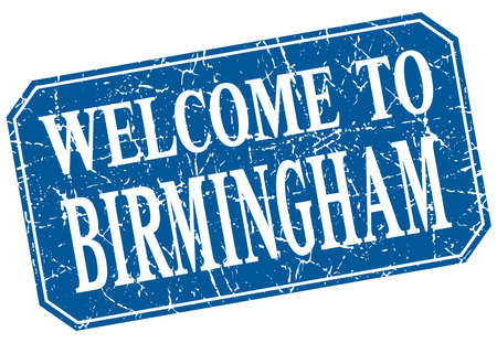 birmingham: welcome to Birmingham blue square grunge stamp