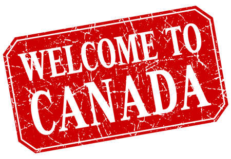 canada stamp: welcome to Canada red square grunge stamp Illustration