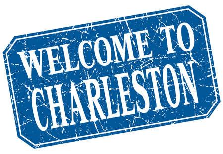 in charleston: welcome to Charleston blue square grunge stamp Illustration