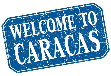 caracas: welcome to Caracas blue square grunge stamp