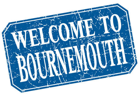 bournemouth: welcome to Bournemouth blue square grunge stamp Illustration