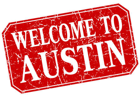 austin: welcome to Austin red square grunge stamp