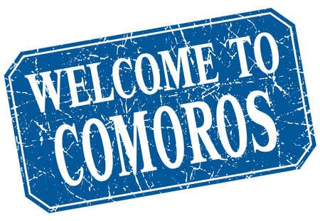 comoros: welcome to Comoros blue square grunge stamp Illustration