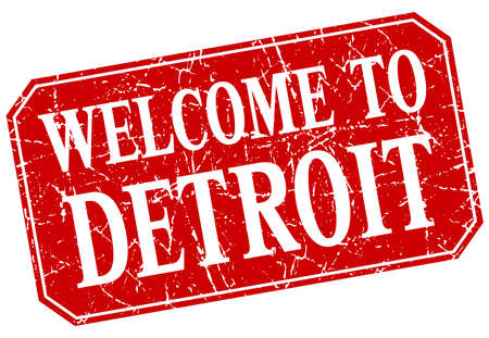 detroit: welcome to Detroit red square grunge stamp Illustration