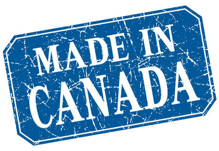 canada stamp: made in Canada blue square grunge stamp Illustration