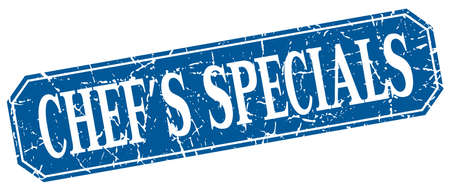 specials: chefs specials blue square vintage grunge isolated sign